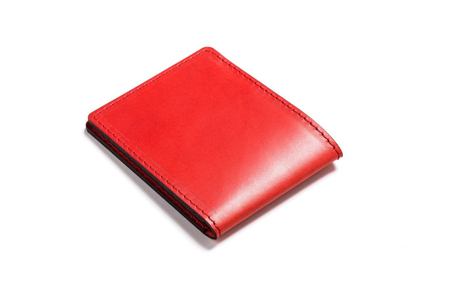 Personalized Red Leather Slim Billfold Wallet