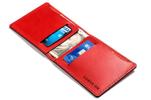 Personalized Red Leather Slim Billfold Wallet Open