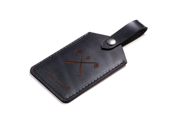 Personalized Black Leather Golf Bag Tag Front