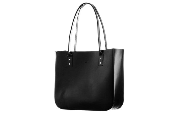 Black leather tote side