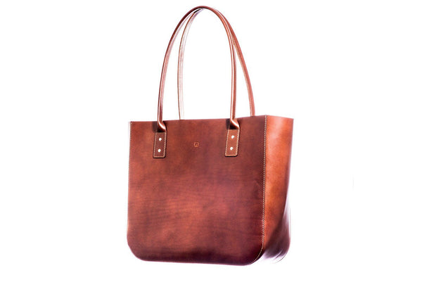 Dark brown leather tote side