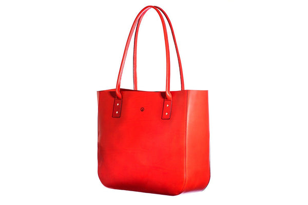 Red leather tote side