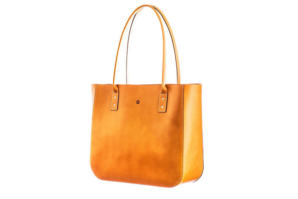 Tan leather tote side