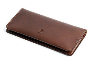 Personalised Dark Brown Leather Long Clutch Wallet Back
