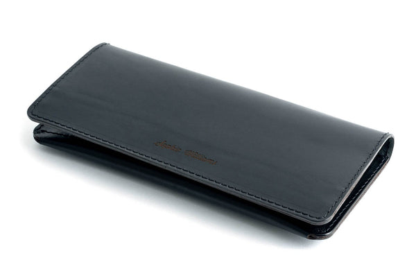 Personalised Black Leather Long Clutch Wallet Front