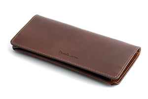 Personalised Dark Brown Leather Travel Wallet Front