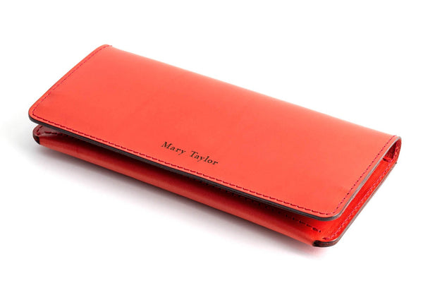 Personalised Red Leather Long Clutch Wallet Front