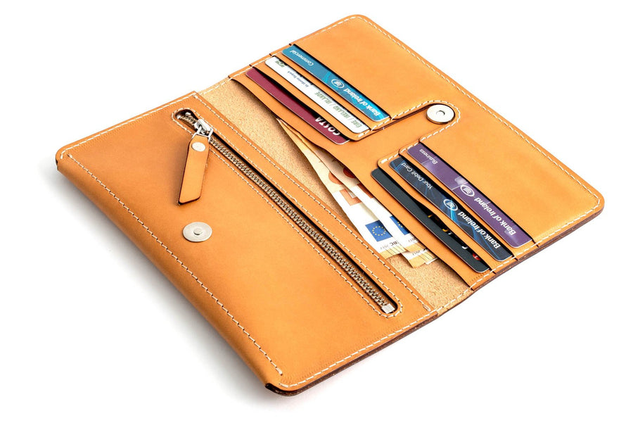 Personalised Tan Leather Long Clutch Wallet Front