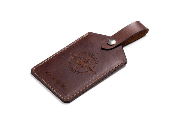Personalised Dark Brown Leather Luggage Tag