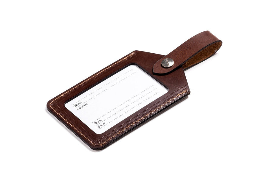Personalized Dark Brown Leather Golf Bag Tag Front