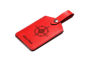 Personalised Red Leather Luggage Tag