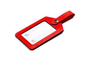 Personalised Red Leather Luggage Tag Back