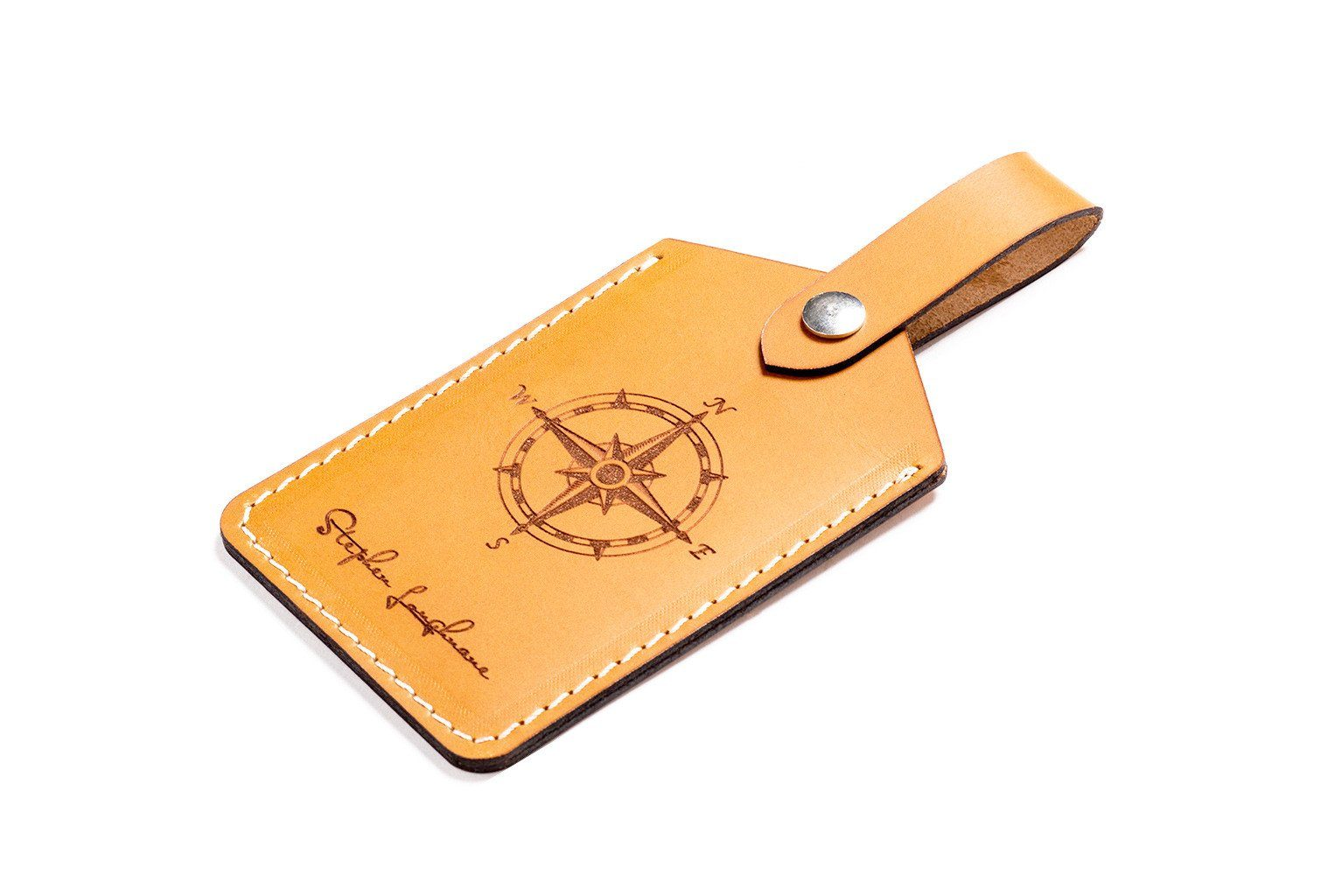 Personalized Leather Luggage Tag Tan - CarveOn 39149e2b7
