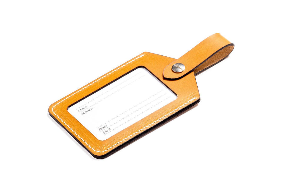 Personalised Tan Leather Luggage Tag
