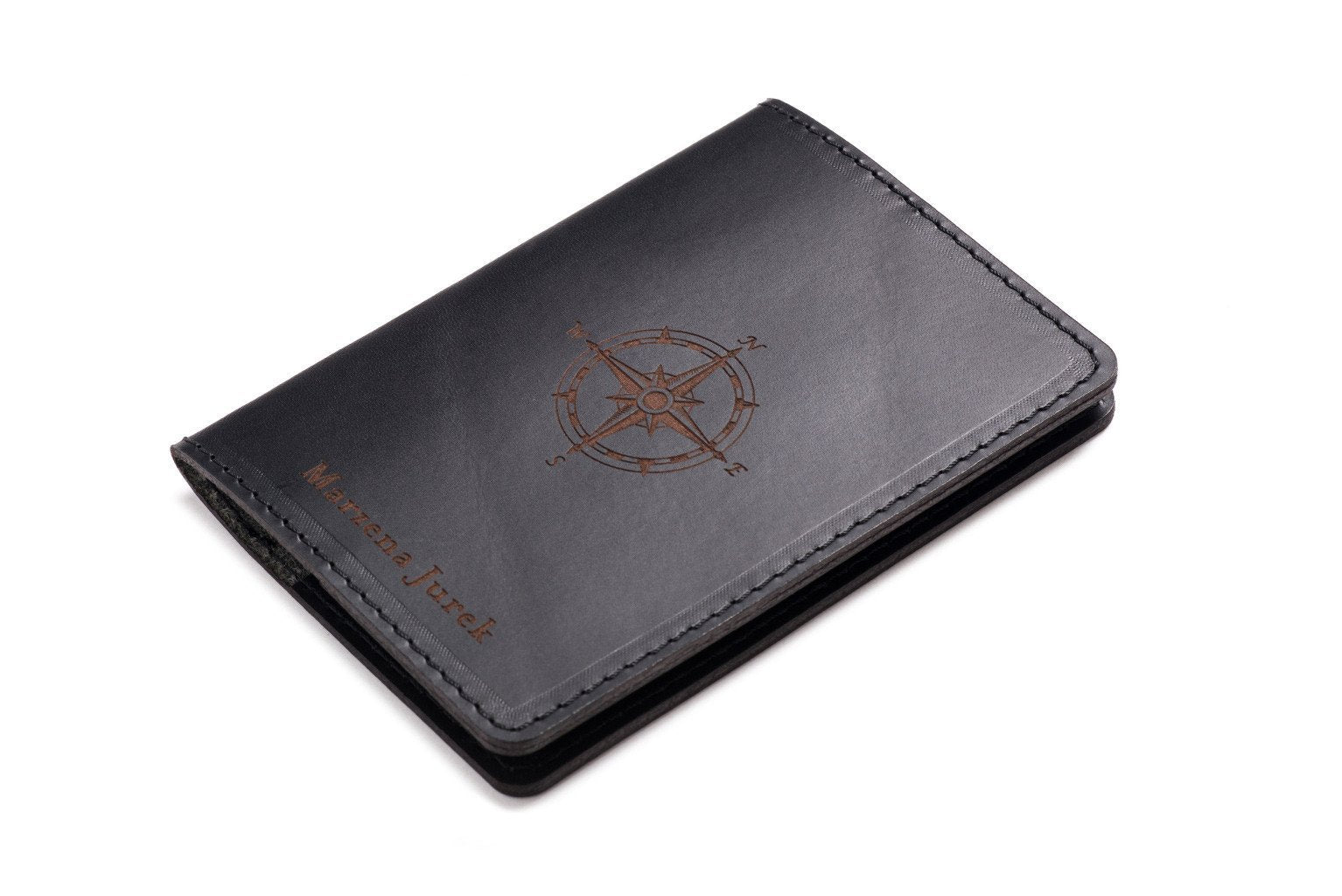 5b337072d218 Personalised Leather Passport Holder Black - CarveOn