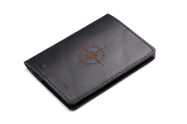 Personalised Black Leather Passport Holder Wallet