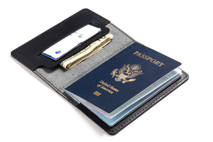 Personalized Black Leather Passport Cover Inside