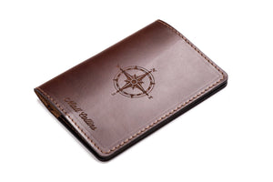 Personalized Dark Brown Leather Passport Cover