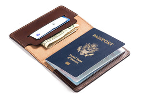 Personalized Dark Brown Leather Passport Cover Inside