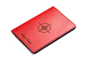 Personalized Red Leather Passport Holder