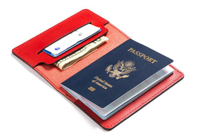 Personalized Red Leather Passport Holder Inside