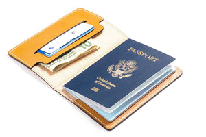 Personalized Tan Leather Passport Cover Open