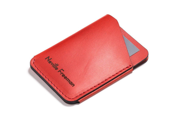 Personalized Red Leather Quick-Draw Wallet