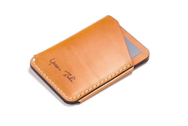 Personalized Tan Leather Quick-Draw Wallet