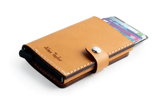 RFID Wallet Tan cards top