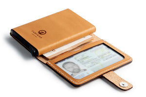 Leather RFID Wallet Open Tan