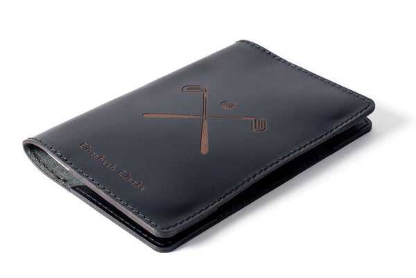Black Personalised Leather Scorecard Holder Front