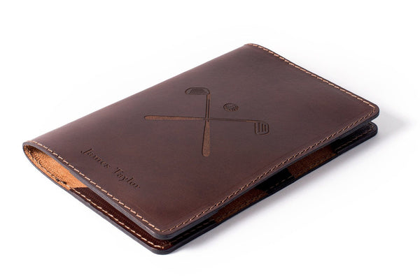 Dark Brown Personalised Scorecard Holder Front