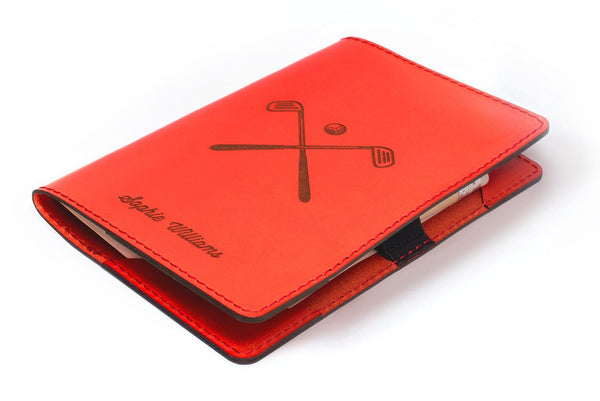 Red Personalised Leather Scorecard Holder Front