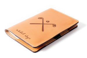 Tan Personalised Leather Golf Gift Set Scorecard Holder Front