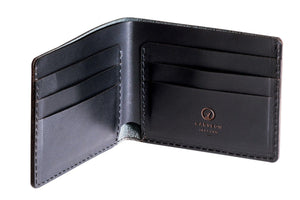 Personalised Black Leather Traditional  Wallet Interior