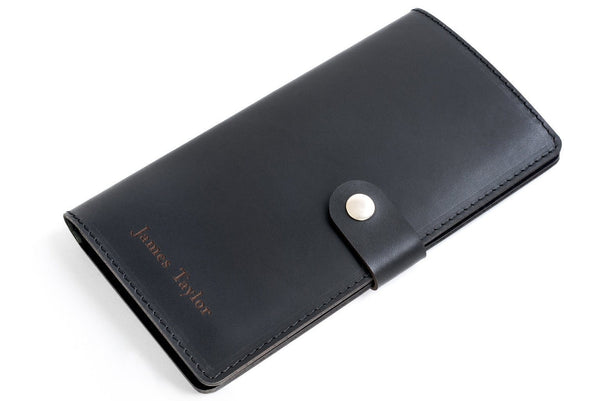 Personalised Black Leather Travel Wallet Front