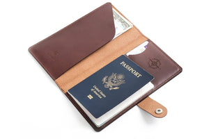 Personalised Dark Brown Leather Travel Wallet Open