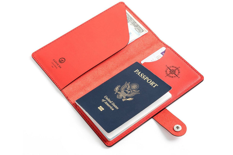 Personalised Red Leather Travel Wallet Front