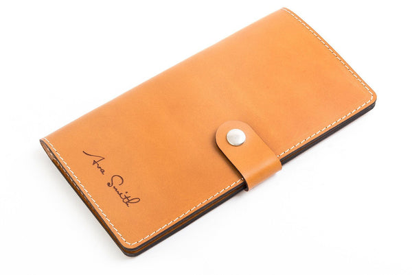 Personalised Tan Leather Travel Wallet Front