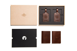 Dark brown leather wedding gift set