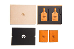 Tan leather wedding giftset packaged