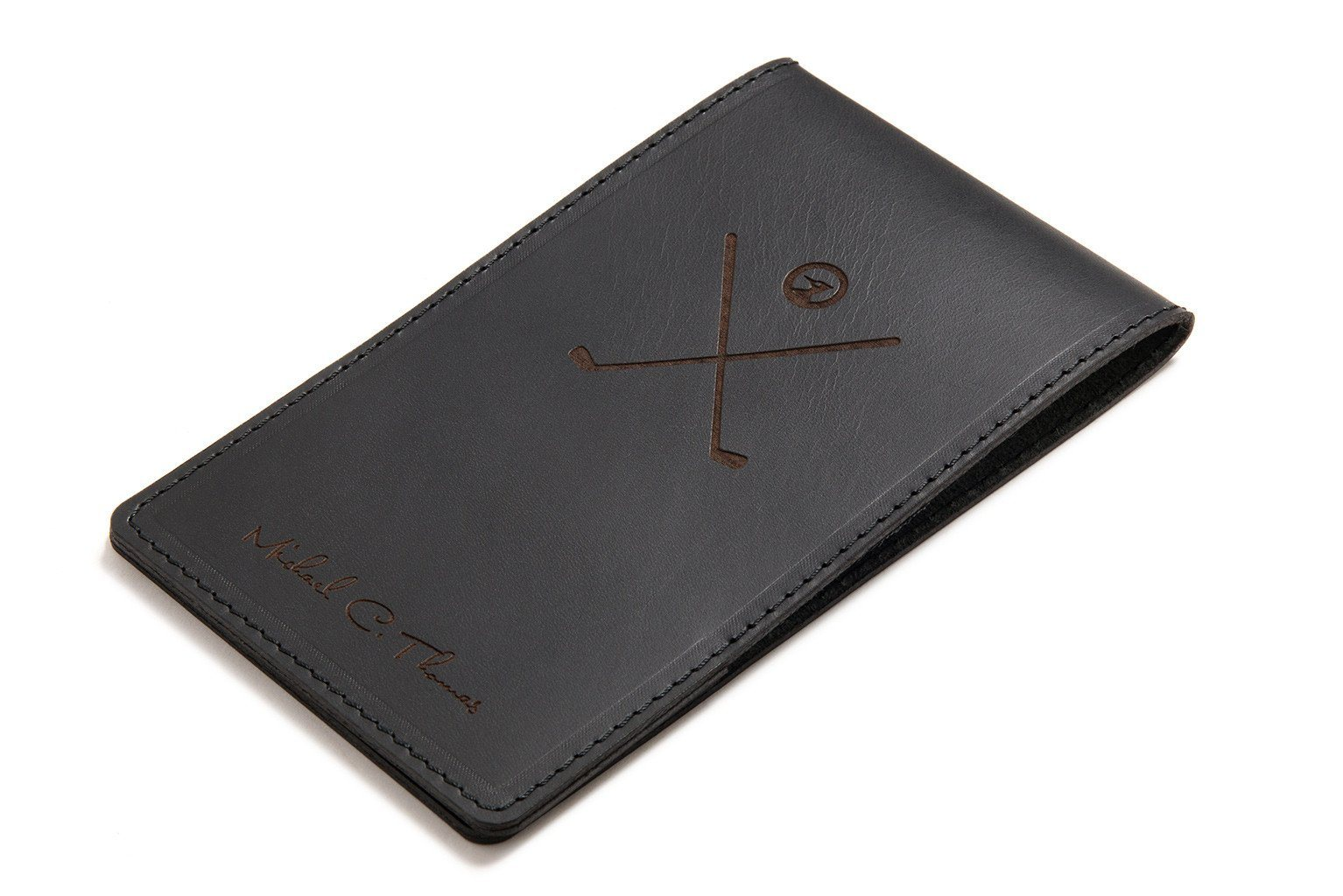 Cookbook Black Cover : Black personalised leather yardage book cover carveon