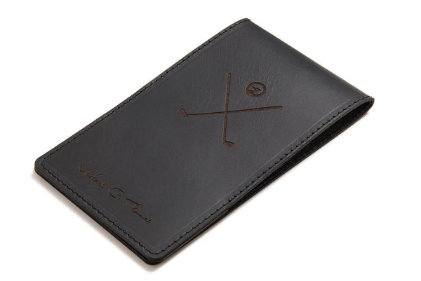 Black personalised leather yardage book cover front