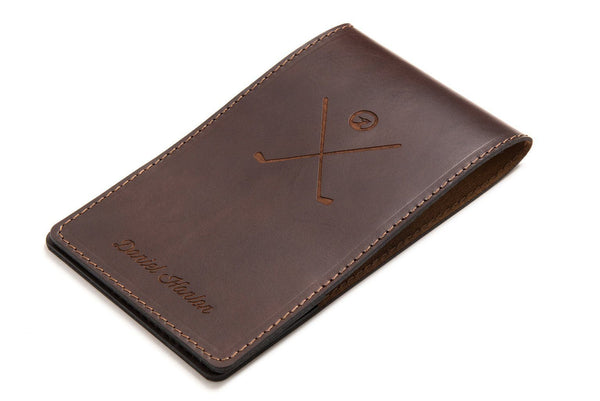 Dark brown personalized leather yardage book cover front