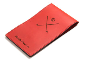 Red personalized leather yardage book cover front