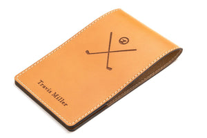 Tan personalised leather yardage book cover front