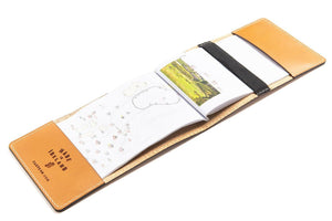 Tan personalised leather yardage book cover open
