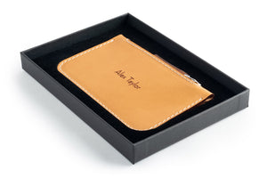 Zip Card Wallet Tan Box Open