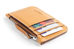 Zip Card Wallet Tan Side