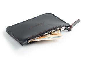 Zip Card Wallet Black Open
